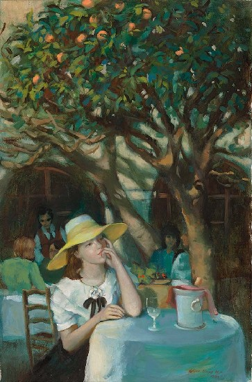果樹下的少女